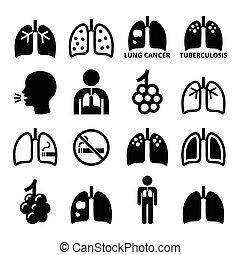 icone, set, polmone, polmoni, malattia