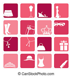 icone, set, ragazze, moda