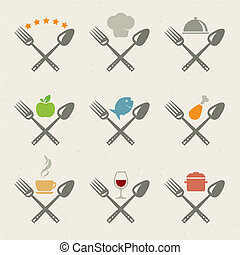 icone, set, ristorante
