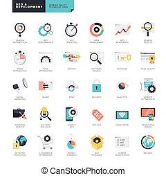 icone, set, sito web, sviluppo