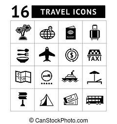 icone, set, turismo, viaggiare