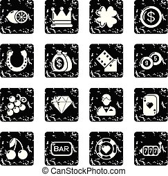 icone, set, vettore, grunge, casinò