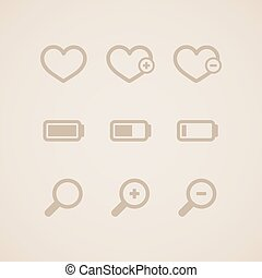 icone, set, web