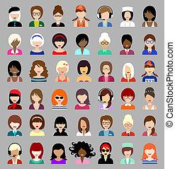icone, set, women., cerchio, appartamento