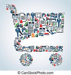 icone, shopping, proprietà, servizio, carrello, forma