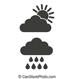 icone, sole, pioggia, fondo., nube bianca