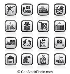 icone, spedizione marittima, logistico, carico