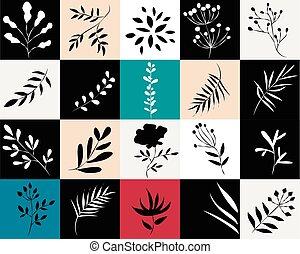 icone, squadre, colorato, piante