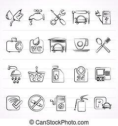 icone, stazione benzina