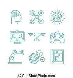 icone, stile, lineare, set, vettore, trendy