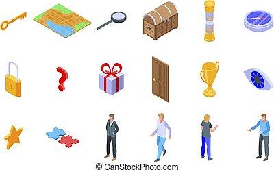 icone, stile, set, ricerca, isometrico