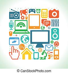 icone, stile, set, vettore, appartamento, tecnologia