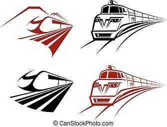 icone, stilizzato, treno, sottopassaggio, accelerare, o