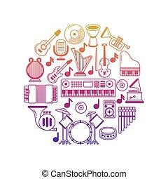 icone, strumenti, luminoso, vettore, musica, manifesto, musicale