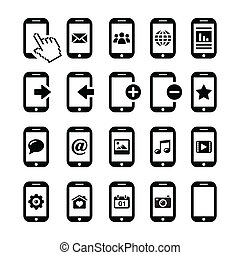 icone, telefono mobile, smartphone, set