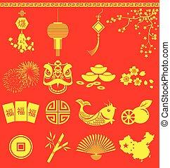 icone, traduzione, nuovo, scoppio, dicitura, cinese, anno