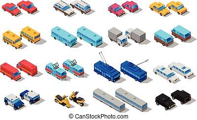 icone, trasporto, isometrico, set, città