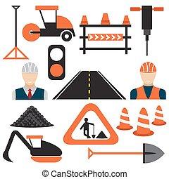 icone, uomini, lavoro, strada, disegno, appartamento, lavori in corso