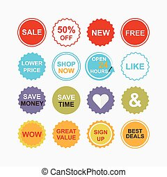icone, vendita dettaglio, colorito, shopping