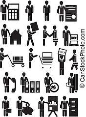 icone, vettore, persone affari