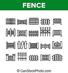 icone, vettore, recinto, set, collezione, costruzione