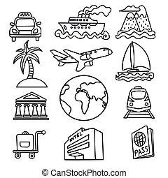 icone, viaggiare, concetto