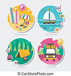 icone, viaggiare, estate, progetto serie, appartamento