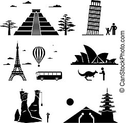 icone, viaggiare, famoso, monumenti