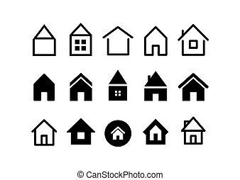 icone, web, casa, differente, collezione, vettore