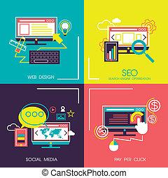 icone, web, mobile, disegno, appartamento, servizi