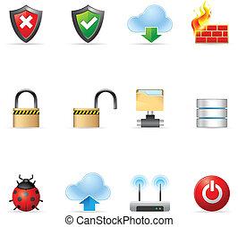 icone, web, rete, -, computer