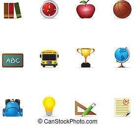 icone, web, scuola, -
