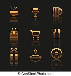 icone, web, set, dorato