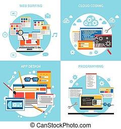 icone, web, set, sviluppo, concetto