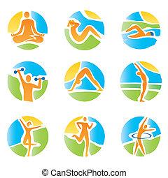 icone, yoga, colorito, idoneità