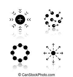 iconen, abstract, schaduw, black , symbolen, set, druppel