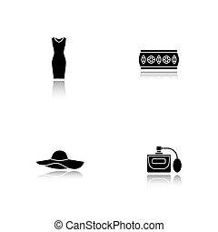 iconen, accessoires, schaduw, vrouwen, black , set, druppel