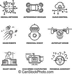 iconen, Ai, intelligentie, robot, Kunstmatig, Vector, mager,...