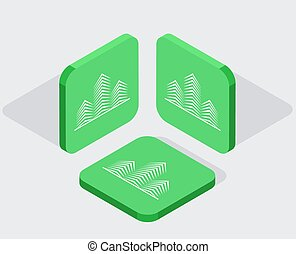 iconen, app, 3, moderne, isometric, vector