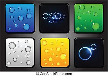 iconen, app, -, water, vector, achtergrond, druppels