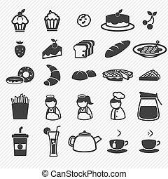 iconen, bakkerij, set