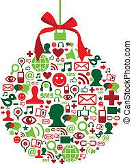 iconen, bauble, sociaal, kerstmis, media