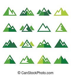 iconen, berg, set, vector, groene