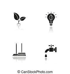 iconen, bescherming, black , milieu, schaduw, set, druppel