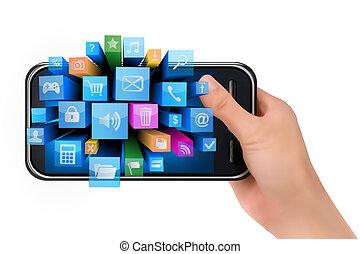iconen, beweeglijk, hand, telefoon, vector, vasthouden