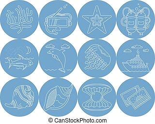 iconen, blauwe , onderwater, vector, ronde