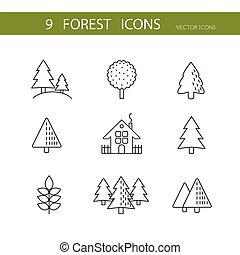 iconen, bomen, set, icons., vector., vector, bos