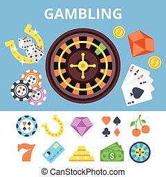 iconen, casino, set, plat, geluksspelletjes