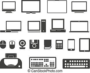 iconen, collection., vrijstaand, uitrusting, witte , elektronisch