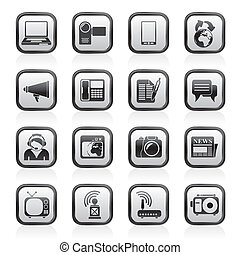 iconen, communicatie, technologie